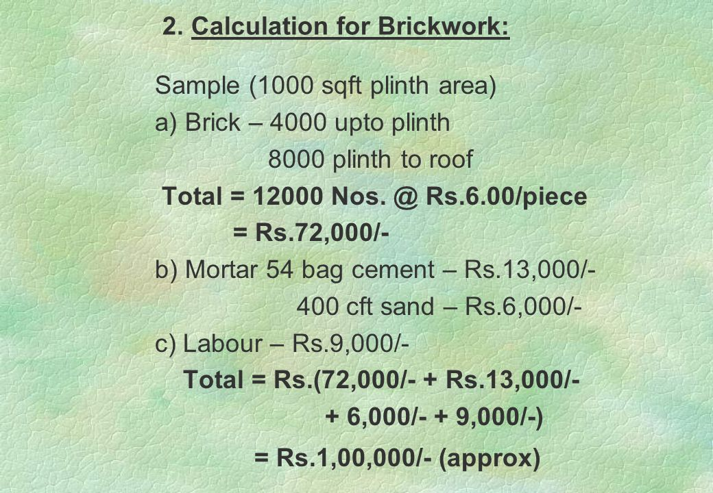 Table showing Material required to Construct 1 cum of Concrete Work