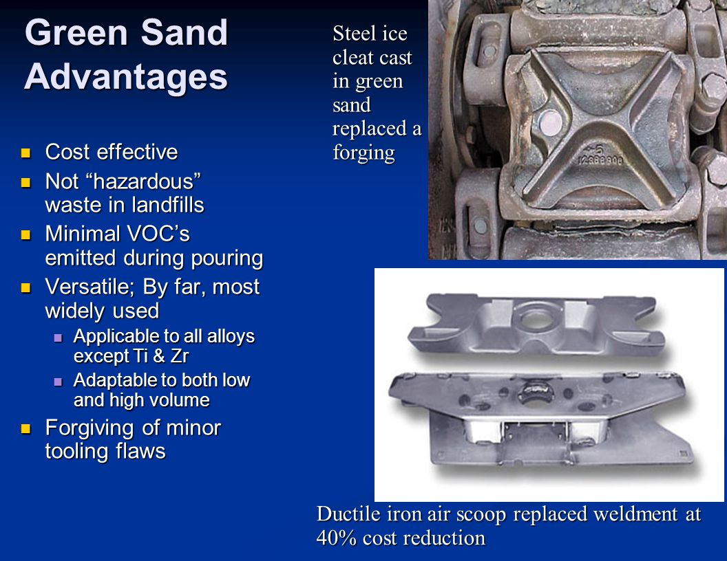 Green Sand Advantages Steel ice cleat cast in green sand replaced a forging. Cost effective. Not hazardous waste in landfills.