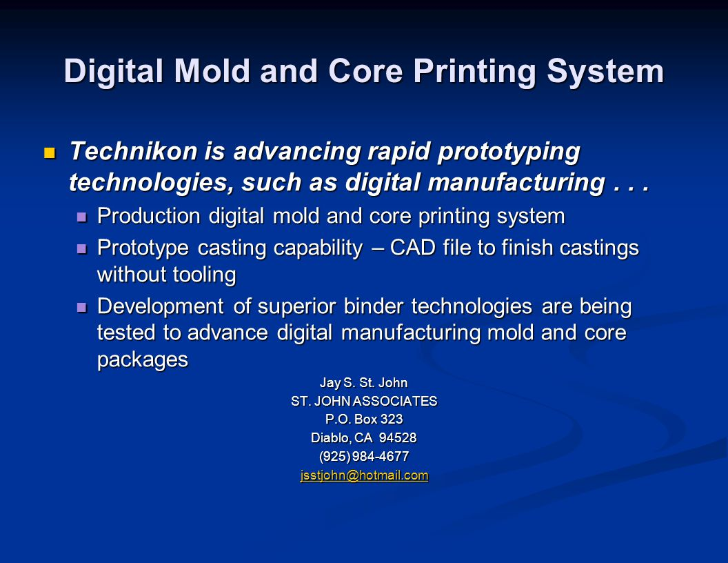 Digital Mold and Core Printing System