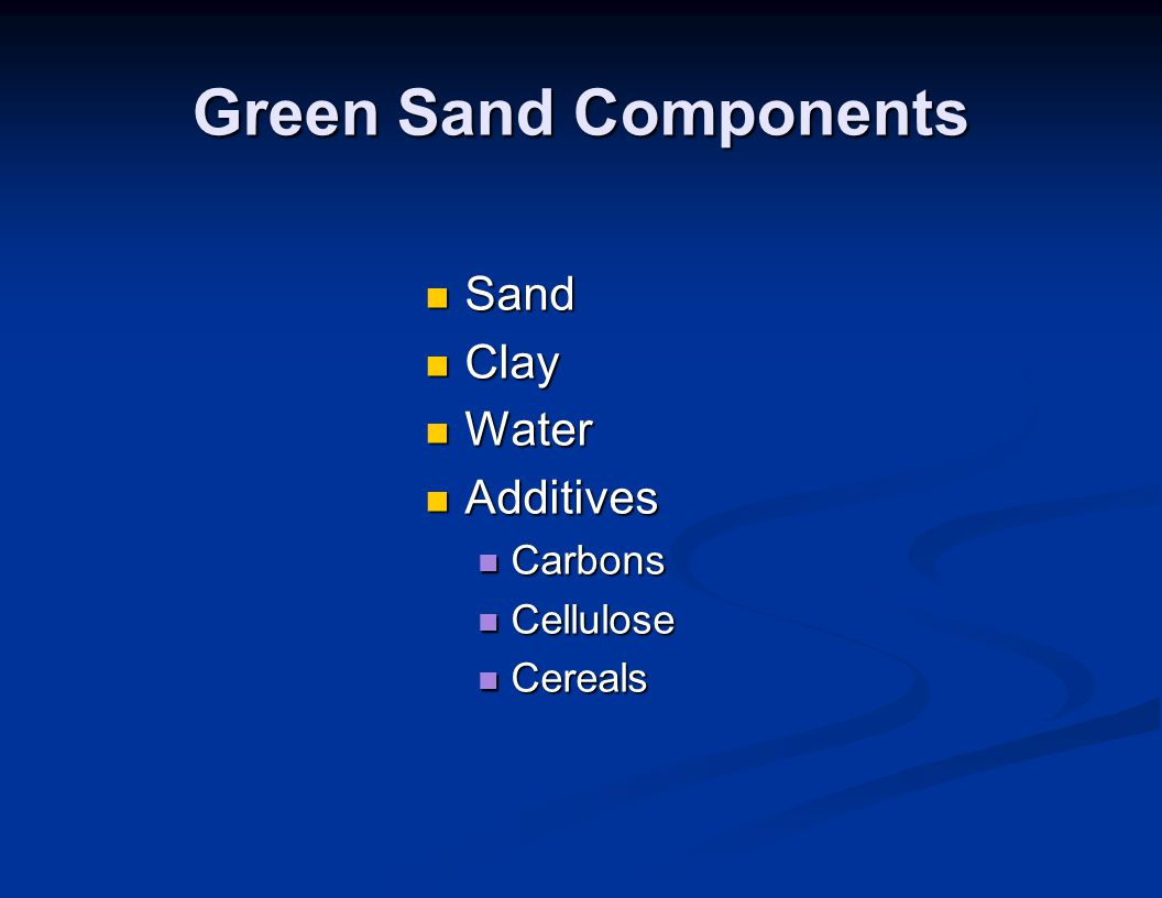 Green Sand Components Sand Clay Water Additives Carbons Cellulose