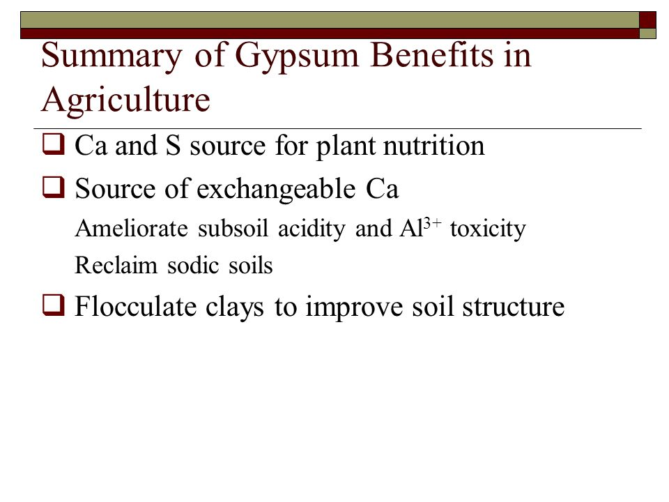 Summary of Gypsum Benefits in Agriculture
