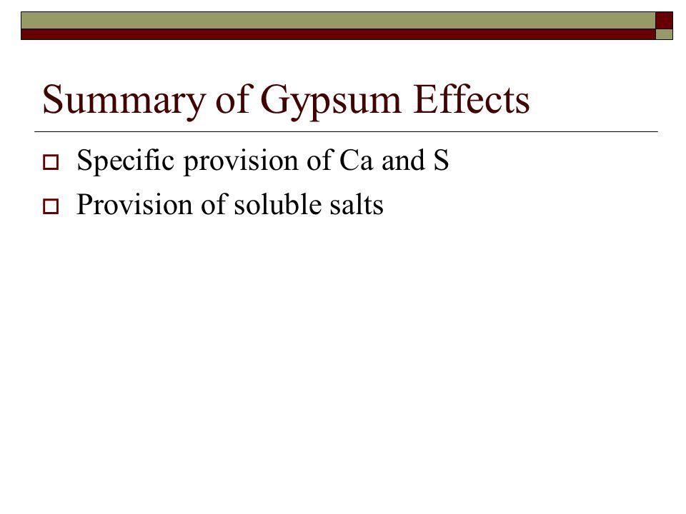Summary of Gypsum Effects