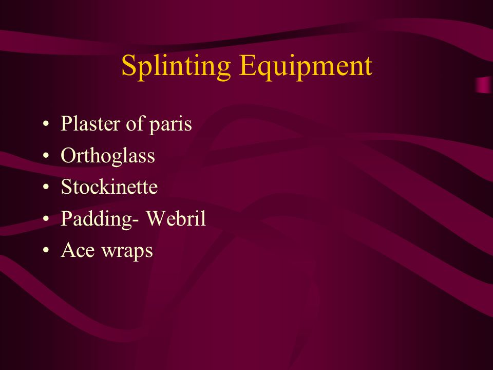 Splinting Equipment Plaster of paris Orthoglass Stockinette