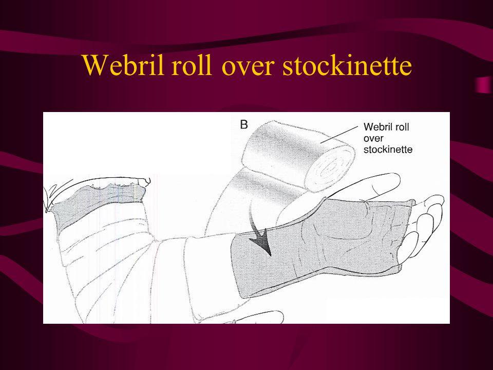 Webril roll over stockinette