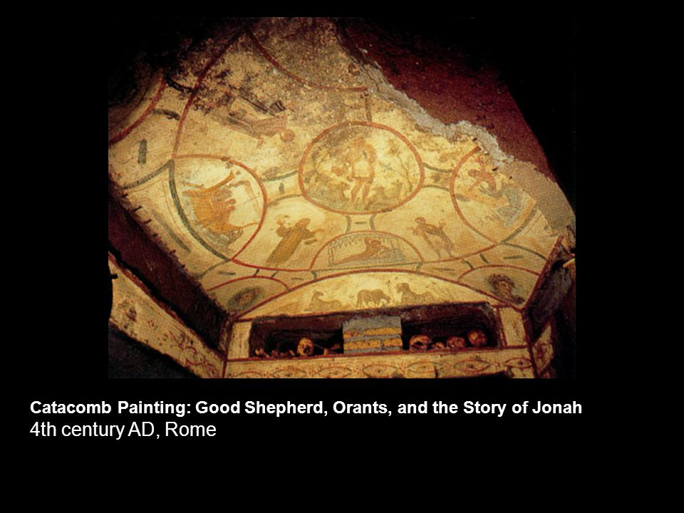 Catacomb Painting: Good Shepherd, Orants, and the Story of Jonah 4th century AD, Rome