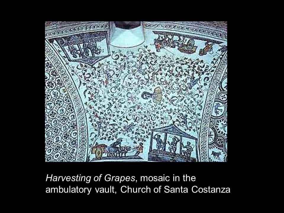 Harvesting of Grapes, mosaic in the ambulatory vault, Church of Santa Costanza