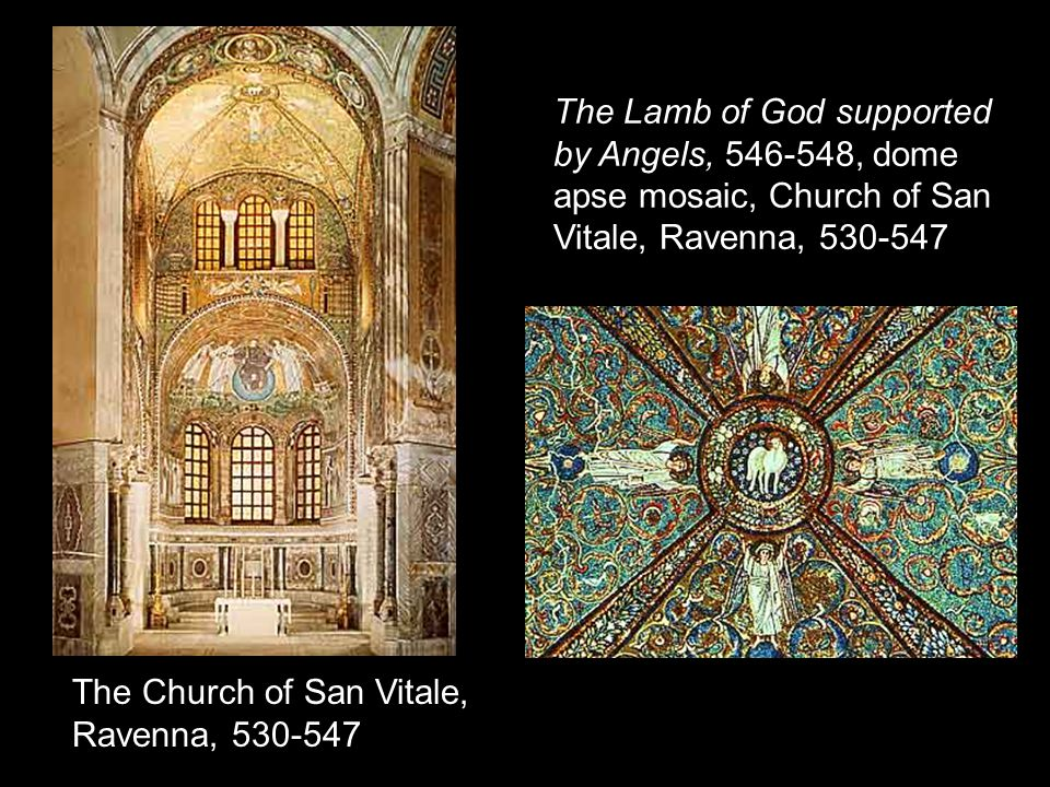The Lamb of God supported by Angels, 546-548, dome apse mosaic, Church of San Vitale, Ravenna, 530-547