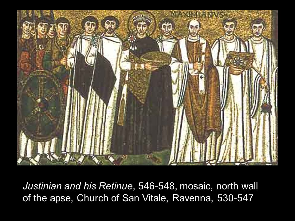 Justinian and his Retinue, 546-548, mosaic, north wall of the apse, Church of San Vitale, Ravenna, 530-547