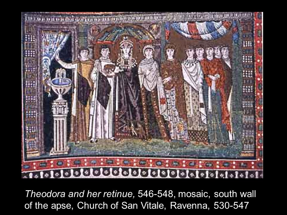 Theodora and her retinue, 546-548, mosaic, south wall of the apse, Church of San Vitale, Ravenna, 530-547