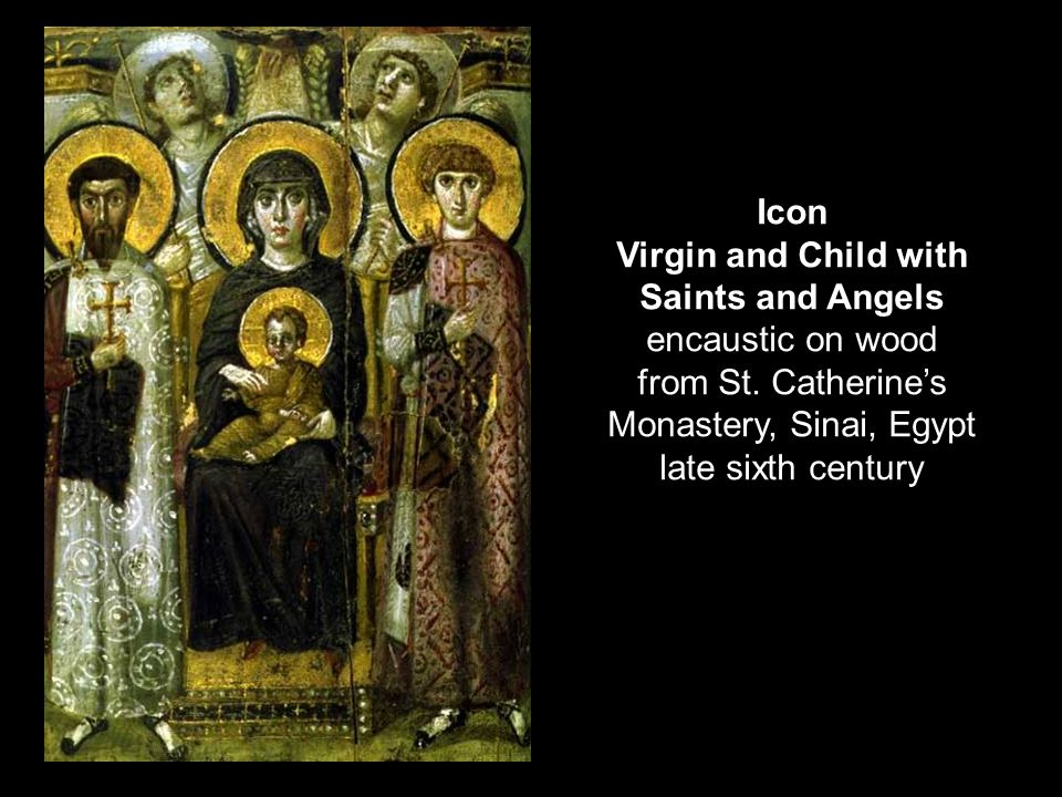 Virgin and Child with Saints and Angels encaustic on wood