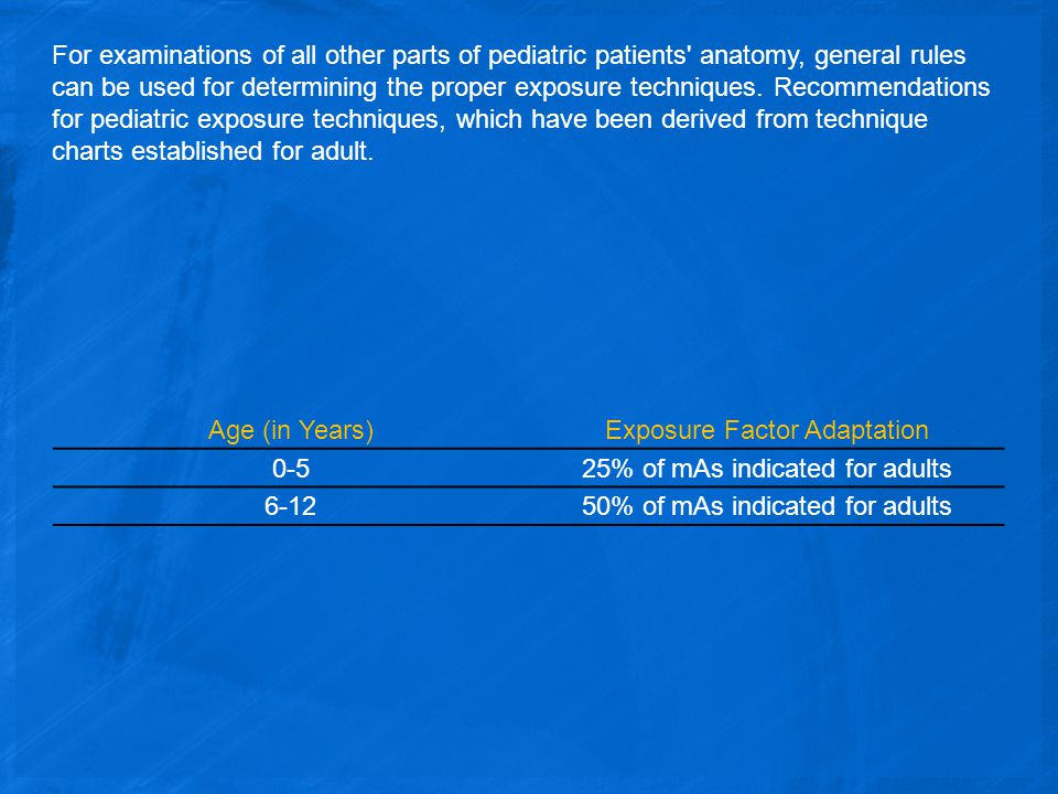 Exposure Factor Adaptation 0-5 25% of mAs indicated for adults 6-12