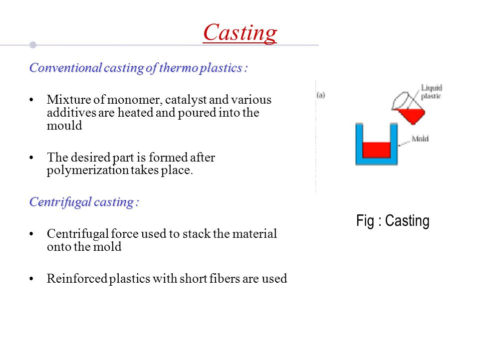 Casting Fig : Casting Conventional casting of thermo plastics :
