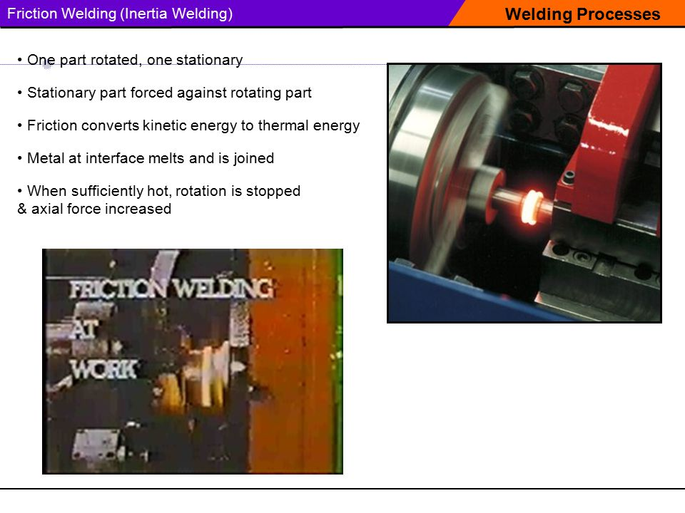 Welding Processes Friction Welding (Inertia Welding)