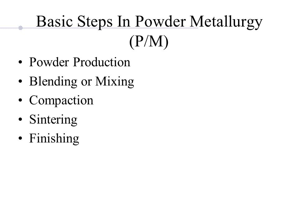 Basic Steps In Powder Metallurgy (P/M)