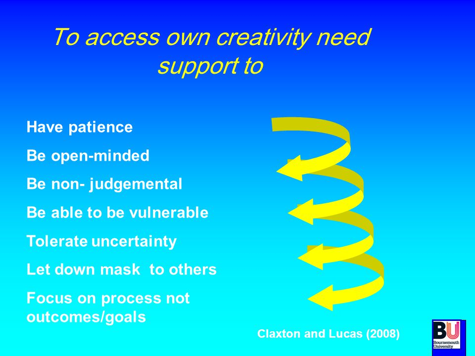 To access own creativity need support to