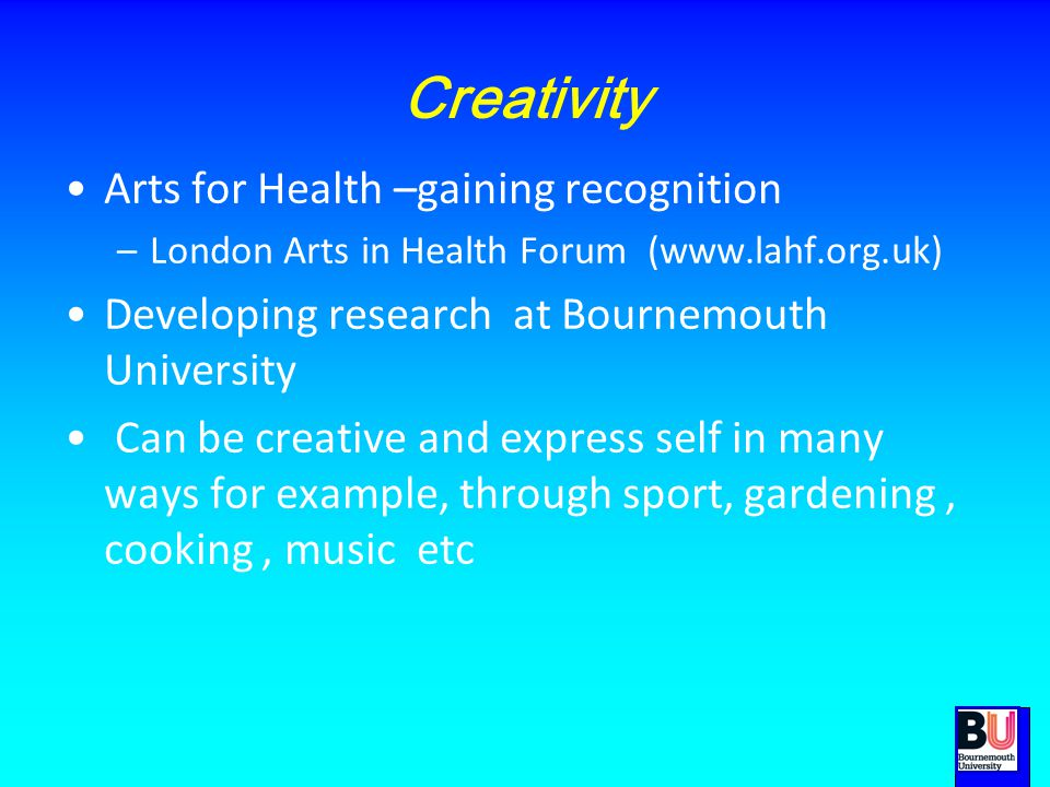 Creativity Arts for Health –gaining recognition