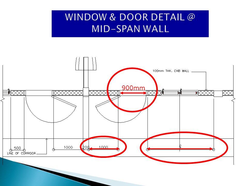 WINDOW & DOOR DETAIL @ MID-SPAN WALL