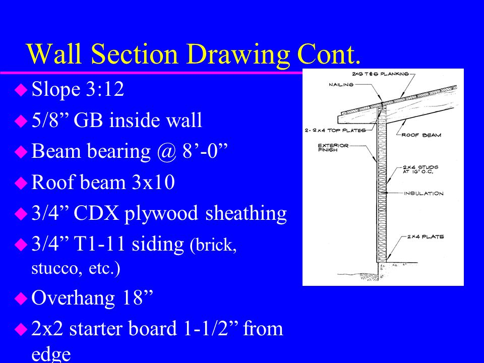 Wall Section Drawing Cont.