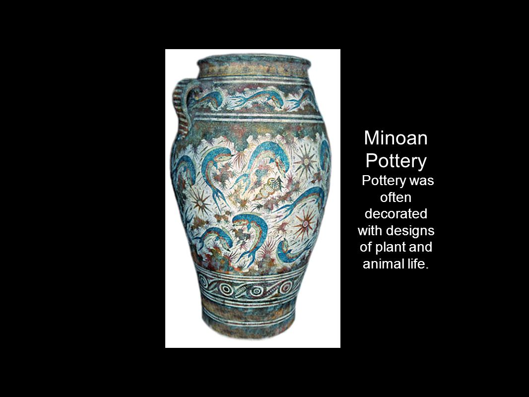 Pottery was often decorated with designs of plant and animal life.