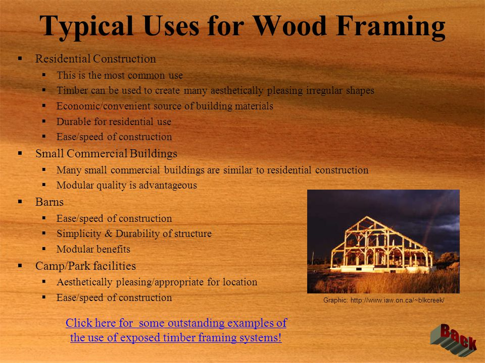 Typical Uses for Wood Framing