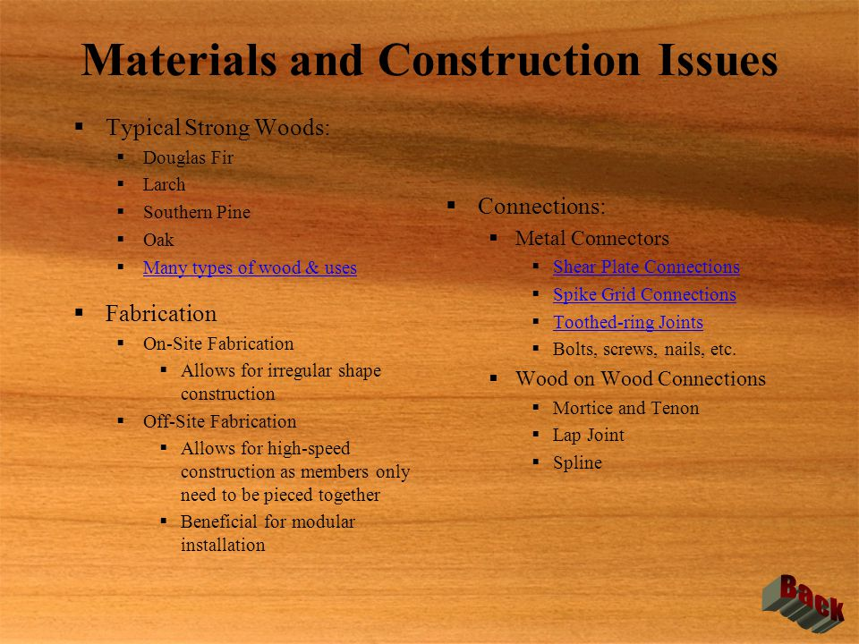 Materials and Construction Issues