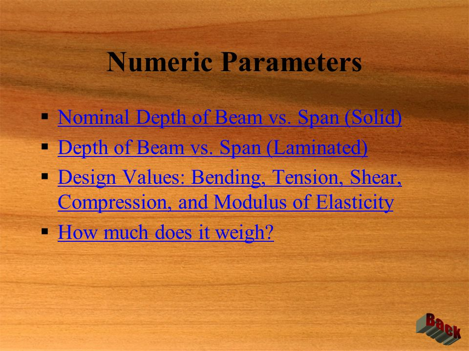 Numeric Parameters Nominal Depth of Beam vs. Span (Solid)