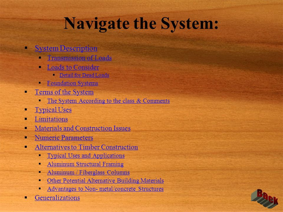 Navigate the System: Back System Description Transmission of Loads