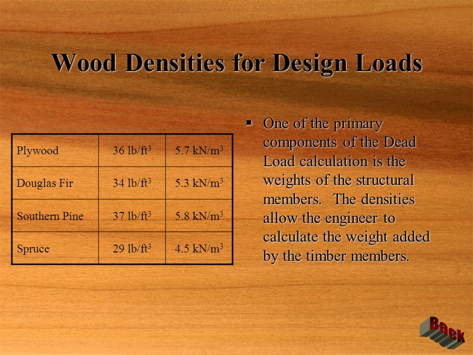 Wood Densities for Design Loads