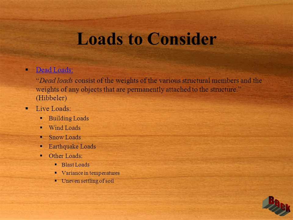 Loads to Consider Back Dead Loads:
