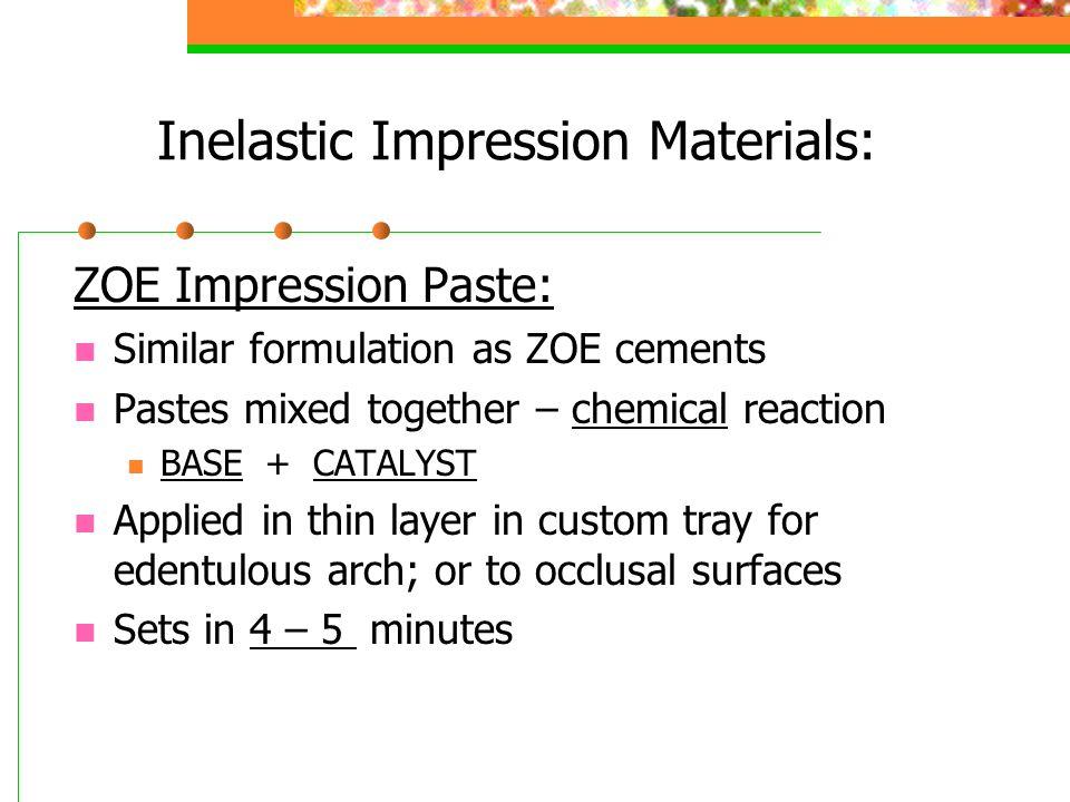 Inelastic Impression Materials: