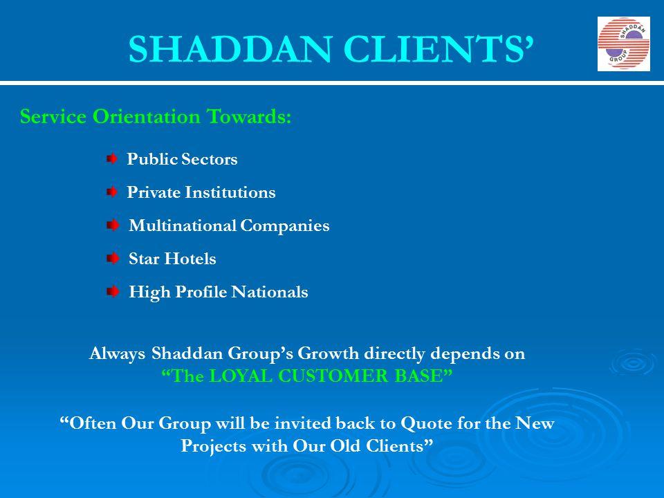 SHADDAN CLIENTS' Service Orientation Towards: