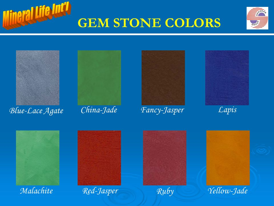 GEM STONE COLORS Mineral Life Int l Blue-Lace Agate China-Jade