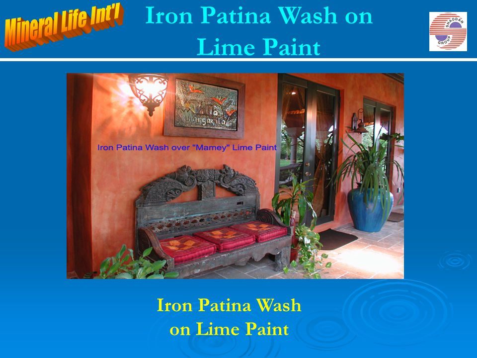 Iron Patina Wash on Lime Paint Iron Patina Wash on Lime Paint