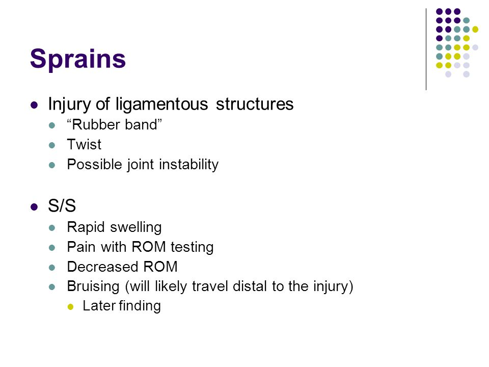Sprains Injury of ligamentous structures S/S Rubber band Twist