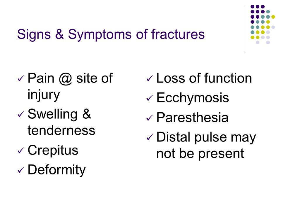 Signs & Symptoms of fractures