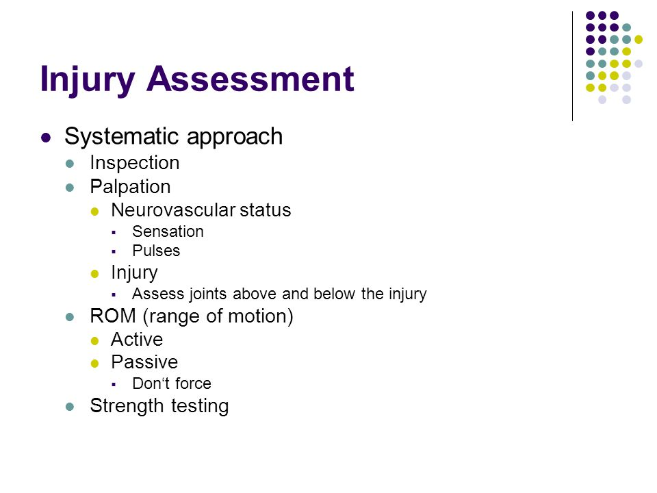 Injury Assessment Systematic approach Inspection Palpation