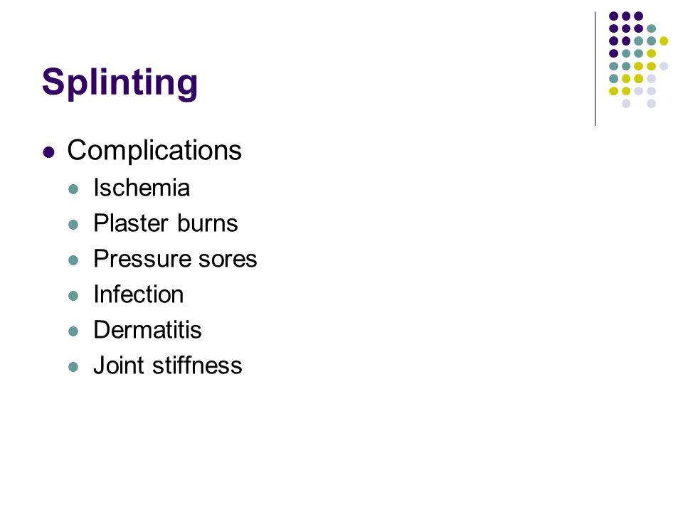 Splinting Complications Ischemia Plaster burns Pressure sores
