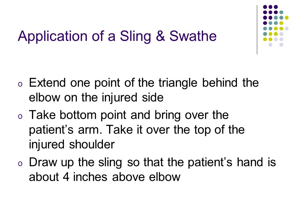 Application of a Sling & Swathe