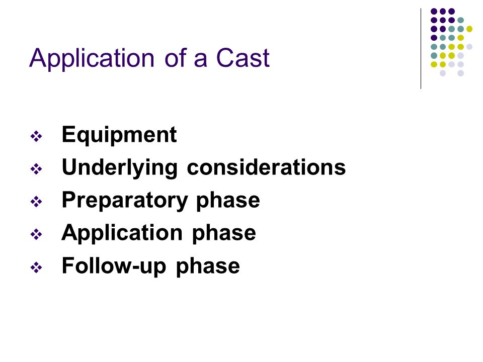 Application of a Cast Equipment Underlying considerations