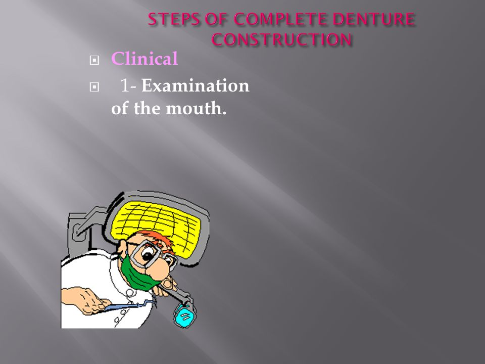 STEPS OF COMPLETE DENTURE CONSTRUCTION
