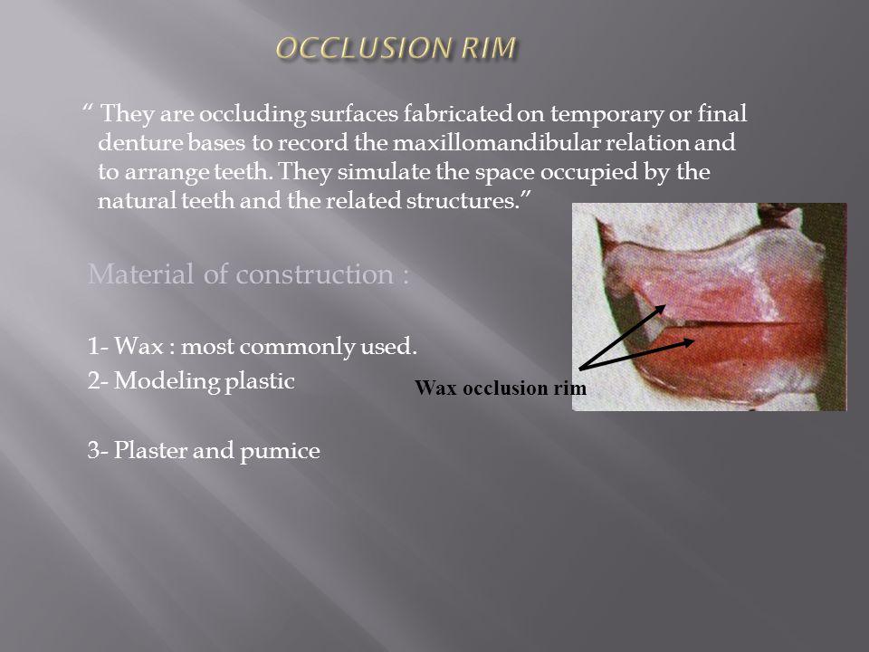 OCCLUSION RIM