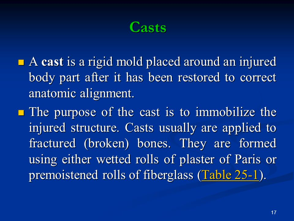 Casts A cast is a rigid mold placed around an injured body part after it has been restored to correct anatomic alignment.