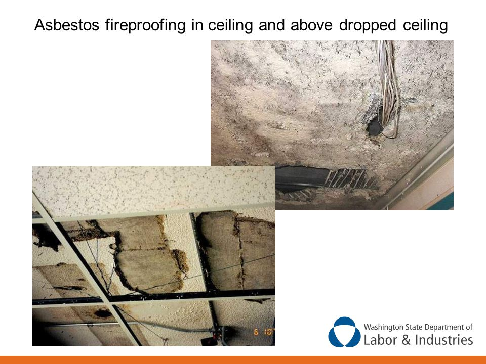 Asbestos fireproofing in ceiling and above dropped ceiling
