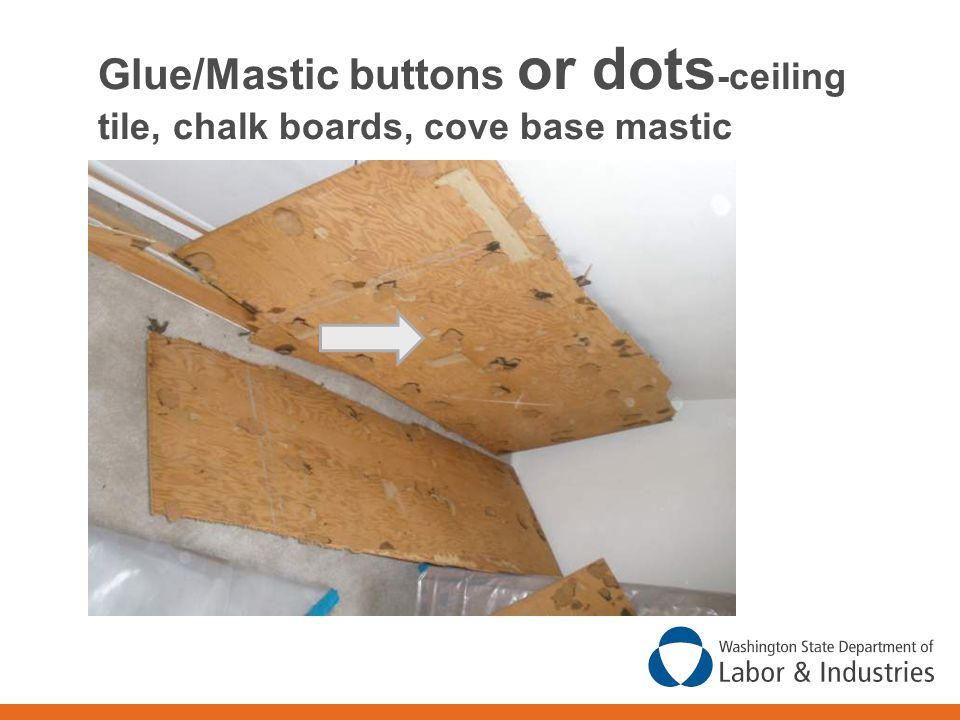 Glue/Mastic buttons or dots-ceiling tile, chalk boards, cove base mastic