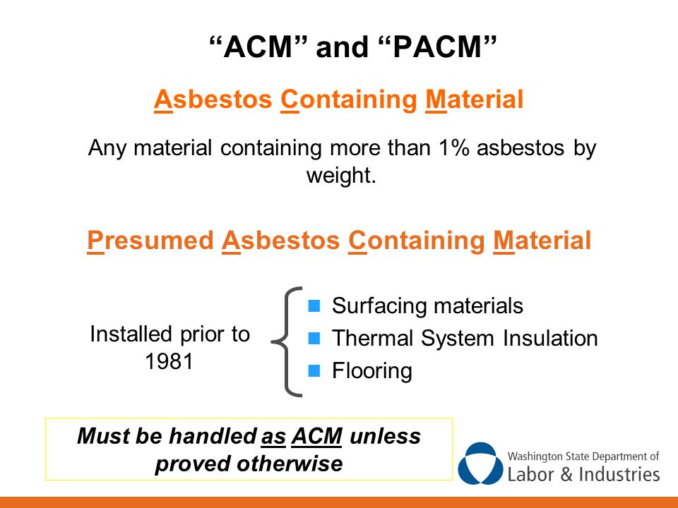 ACM and PACM Asbestos Containing Material