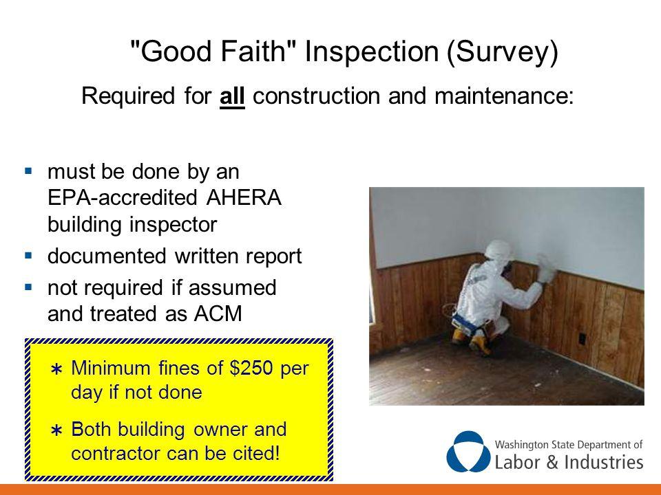 Good Faith Inspection (Survey)