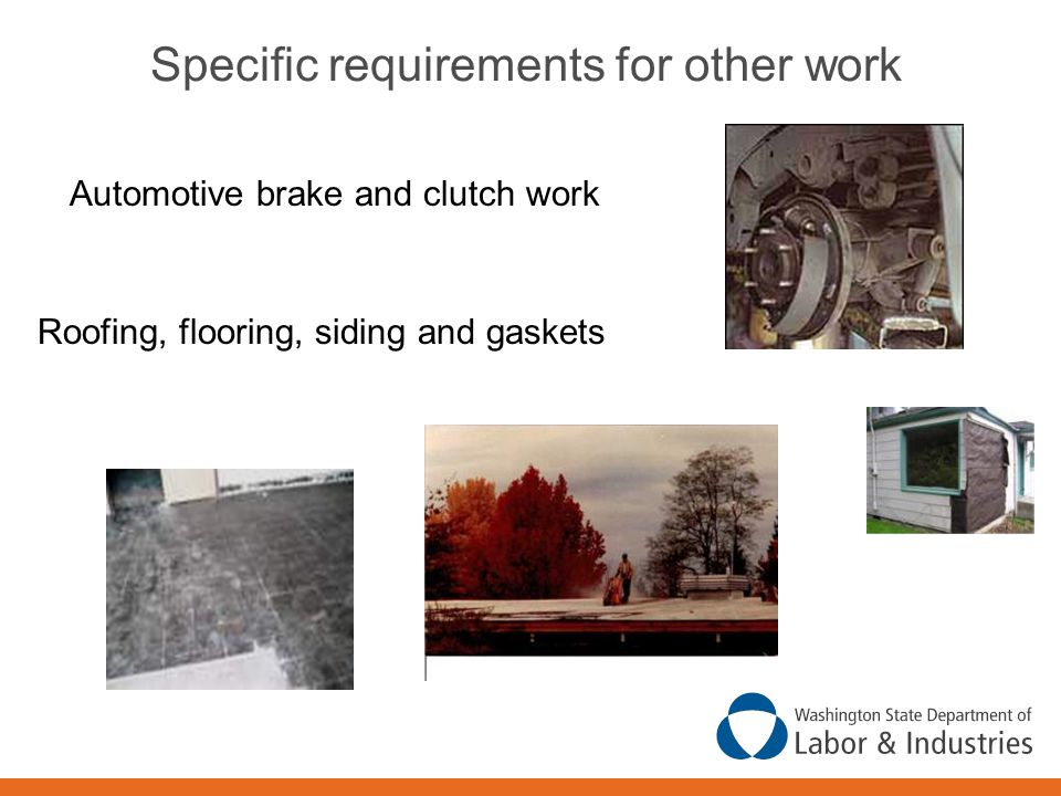 Specific requirements for other work