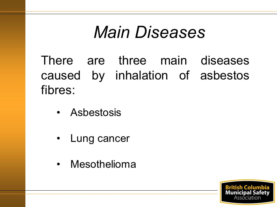 Main Diseases There are three main diseases caused by inhalation of asbestos fibres: Asbestosis. Lung cancer.
