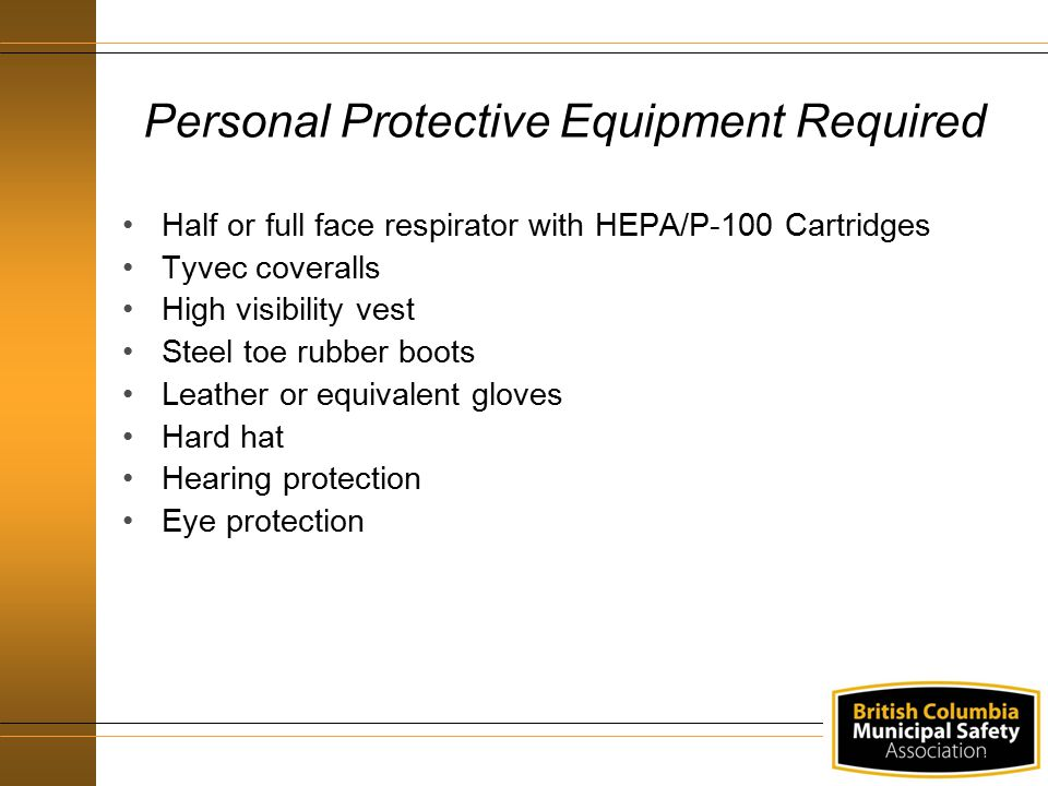 Personal Protective Equipment Required