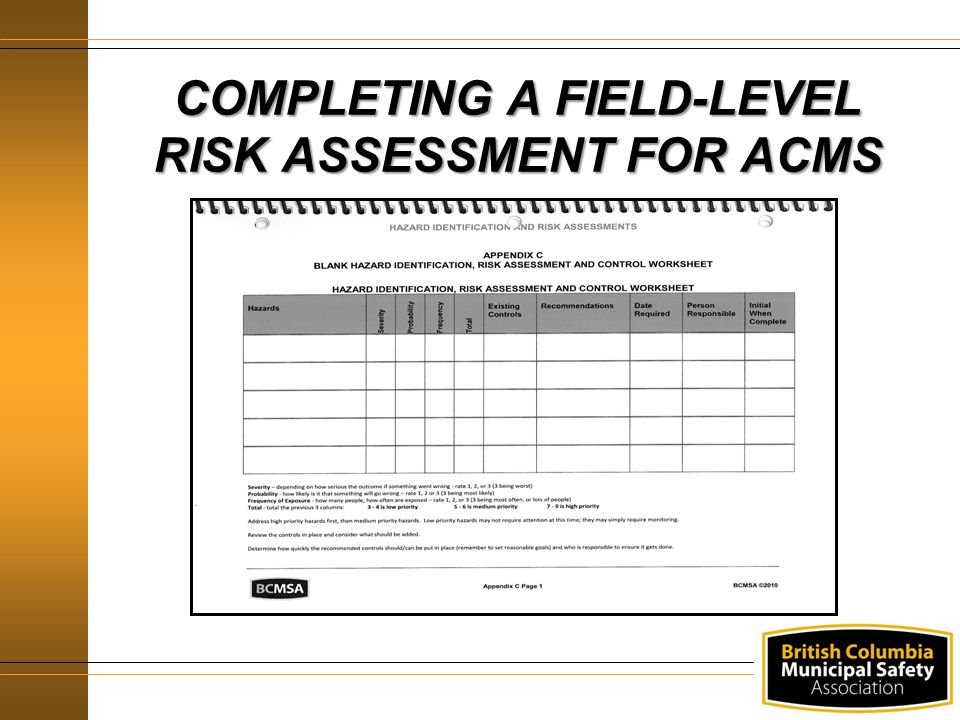 COMPLETING A FIELD-LEVEL RISK ASSESSMENT FOR ACMS